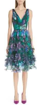 Marchesa Embellished Floral Print Organza A-Line Dress