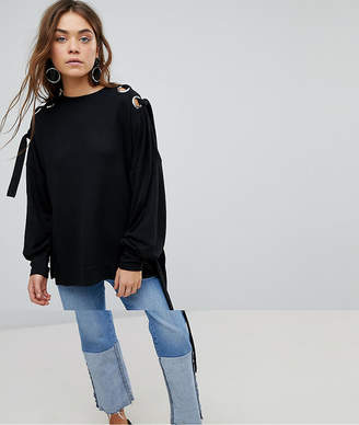 Only Sweater With Eyelet Detail