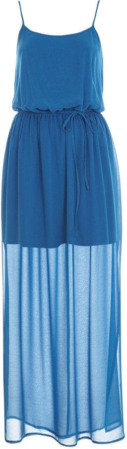 Blue sheer vest maxi dress