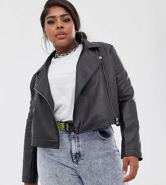 Collusion COLLUSION Plus cropped leather look biker jacket