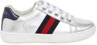 Gucci Laminated Leather Sneakers W/ Web Detail