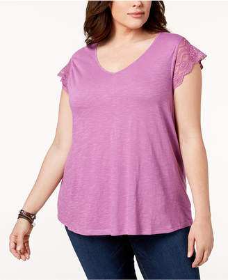 Style&Co. Style & Co Plus Size Lace-Sleeve Top, Created for Macy's