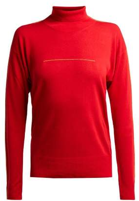 MM6 MAISON MARGIELA Piped Stitch Roll Neck Sweater - Womens - Red