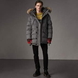 Burberry Detachable Fur Trim Cashmere Down-filled Parka