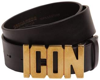 DSQUARED2 40mm Leather Belt W/ Icon Buckle