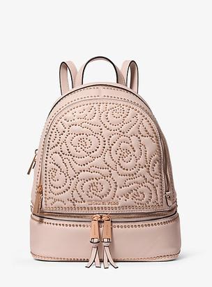 Michael Kors Rhea Medium Rose Studded Leather Backpack