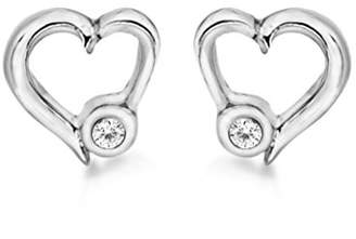 Lily & Lotty for Girls Lily & Lotty Girl's Rhodium Plated 925 Sterling Silver Hand Set Diamond Georgia Heart Stud Earrings