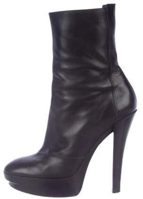 Louis Vuitton Leather Platform Booties Black Leather Platform Booties