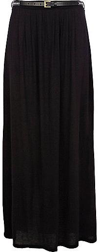 River Island Womens Black belted side split maxi skirt