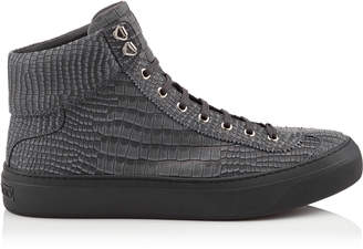 Jimmy Choo ARGYLE Slate Crocodile Printed Nubuck Leather High Top Trainers