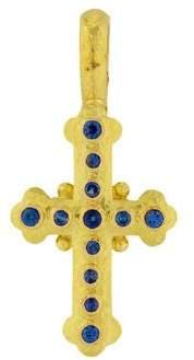 Elizabeth Locke 19K Sapphire Cross Pendant