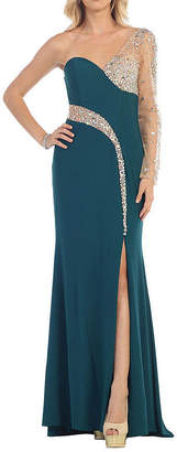 Asstd National Brand Sexy One Shoulder Long Sleeve Stretchy Prom Evening Gown