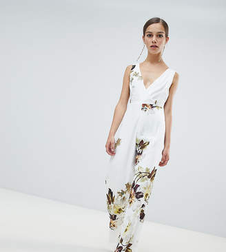 Hope and Ivy Petite Hope & Ivy Petite floral wide leg jumpsuit