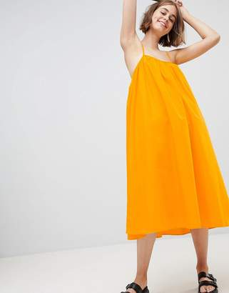 Monki Trapeze Midi Cami Dress In Yellow