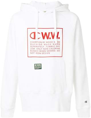 Wood Wood Champion X logo printed hoodie