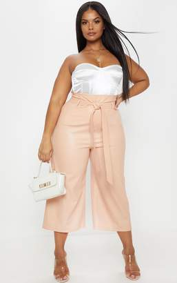 PrettyLittleThing Plus Nude Faux Leather Belt Detail Culotte