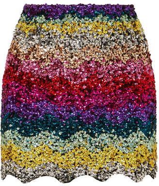 Ashish Scalloped Sequined Cotton Mini Skirt - Pink