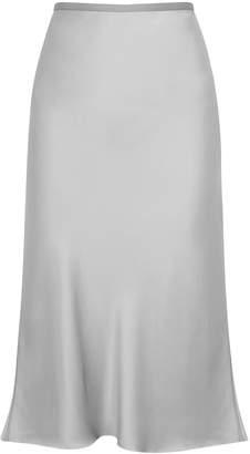 Helmut Lang Silver Satin Midi Slip Skirt