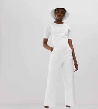 Weekday wide leg denim sleeveless jumpsuit in white
