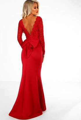 Pink Boutique Addicted To Love Red Lace Long Sleeve Bow Back Maxi Dress