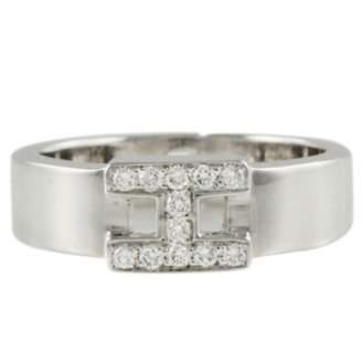 Hermes Clic H white gold ring