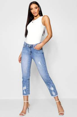 boohoo Low Rise All Over Distressed Boyfriend Jeans