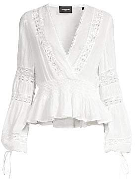 The Kooples Women's Long Sleeve Sheer Lace V-Neck Top