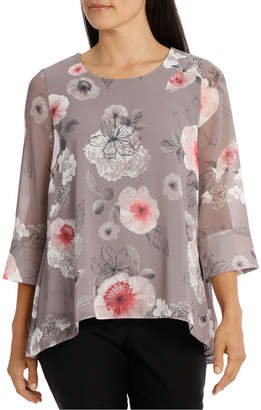 Floral Double Layer 3/4 Sleeve Top