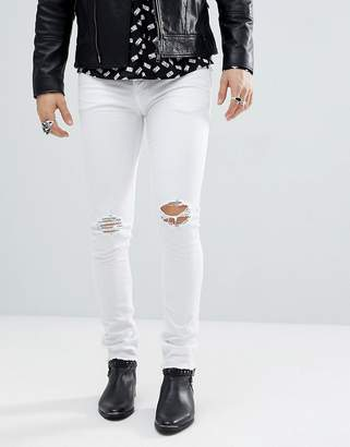Noose & Monkey Super Skinny Distressed Jeans in White with Raw Hem