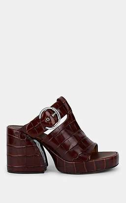 Chloé Women's Buckle-Strap Embossed Leather Platform Mules - Brown
