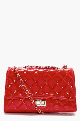 boohoo Rosie Patent Quilted Cross Body Bag