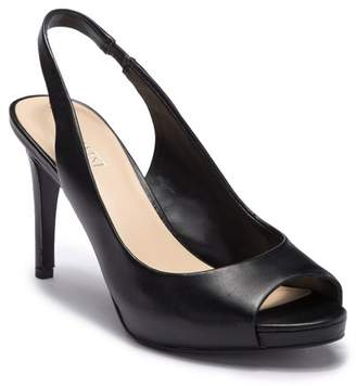 Nine West Known As Leather Slingback Peep Toe Stiletto Heel