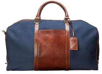 Maxwell Scott Bags Luxury Large Navy & Tan Canvas Weekender Bag