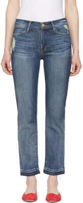 Frame Indigo Le High Straight Release Hem Jeans