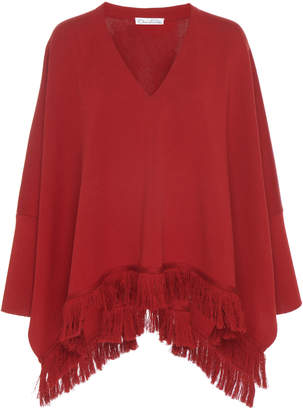 Oscar de la Renta Knit Drape Poncho Blouse With Fringe Trim