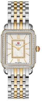 Michele Deco II 16 Diamond, Mother-Of-Pearl& Two-Tone Stainless Steel Bracelet Watch