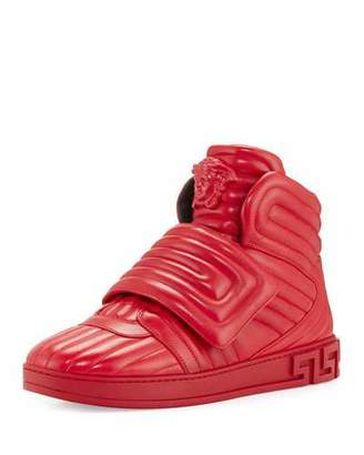Versace Aros Men's Quilted Leather High-Top Sneaker, Geranium Red $995 thestylecure.com
