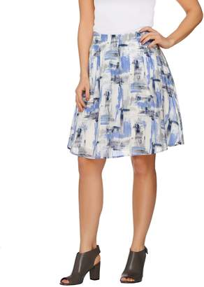 Halston H By H by Printed Skirt with Inverted Pleat Detail