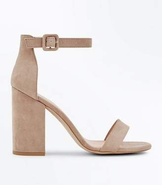 New Look Light Brown Suedette Barely There Block Heels