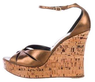 Christian Dior Leather Ankle Strap Wedges