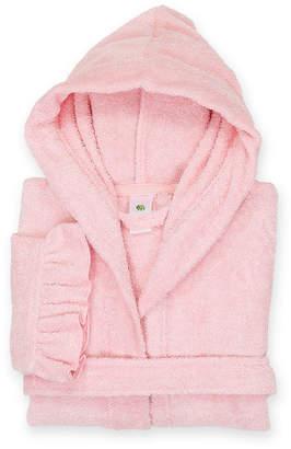 Asstd National Brand Linum Kids 100% Turkish Cotton Hooded Terry Bathrobe With Ruffle