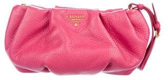Prada Vitello Daino Pleated Wristlet