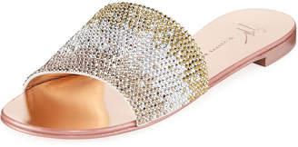 Giuseppe Zanotti Crystal-Embellished Flat Metallic Slide Sandals
