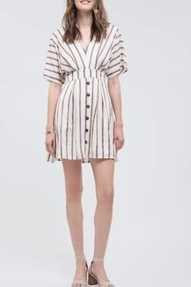 Blu Pepper Short Sleeve Back Tie Stripe Dress