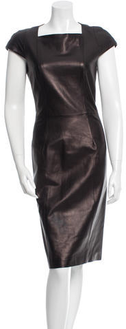 Saint LaurentYves Saint Laurent Leather Sheath Dress