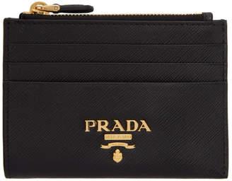 Prada (プラダ) - Prada ブラック サフィアーノ ジップ カード ホルダー