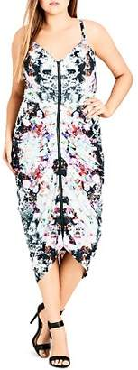 City Chic Plus Fresh Abstract Floral Pleated Dress