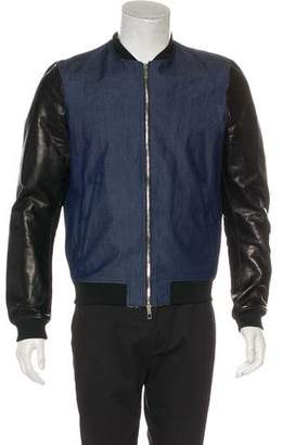Valentino Lambskin-Trimmed Bomber Jacket