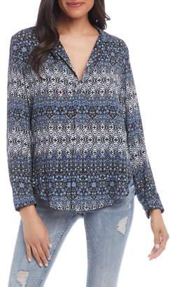 Karen Kane Print V-Neck Long Sleeve Blouse