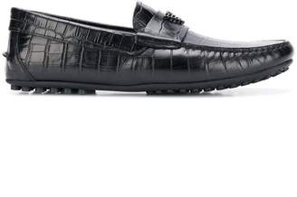Emporio Armani printed leather driving shoes